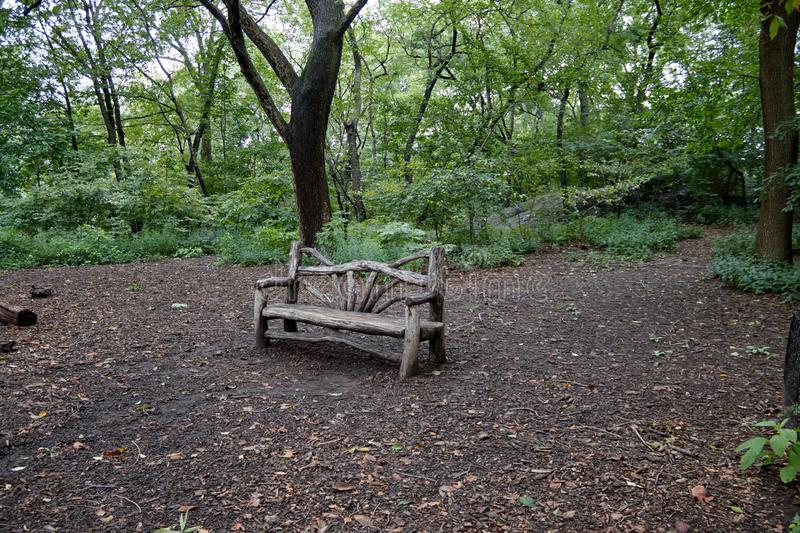 Wood bench in a park. Photo of a wood bench in the middle of a park royalty free stock photo