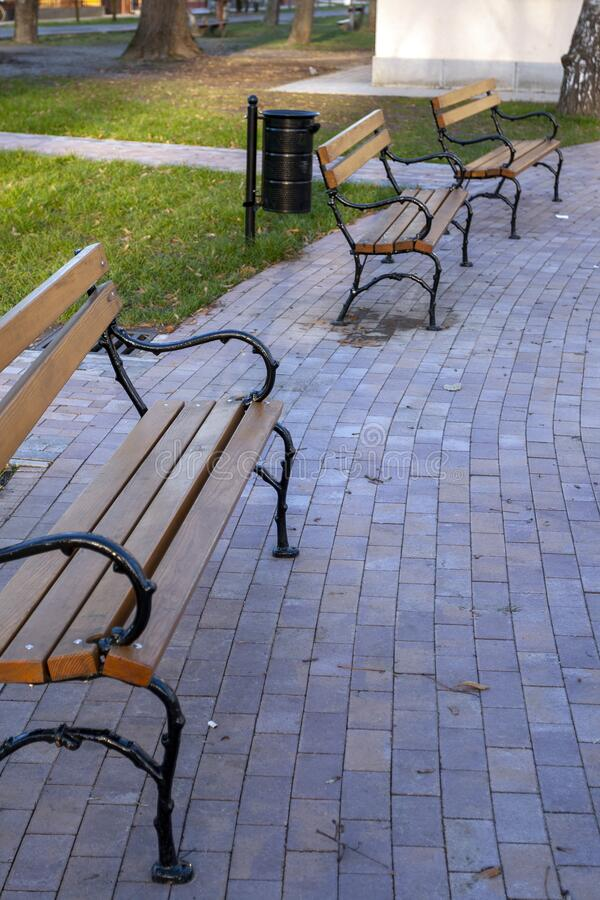 Wood benches in a winter park.  royalty free stock photography