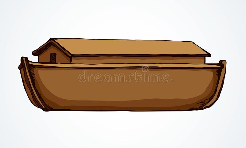 Biblical Noah`s Ark. Vector drawing. Wood big high cargo line arc isolated on Ararat earth white sky backdrop. Brown color hand drawn cute Lord save logotype vector illustration