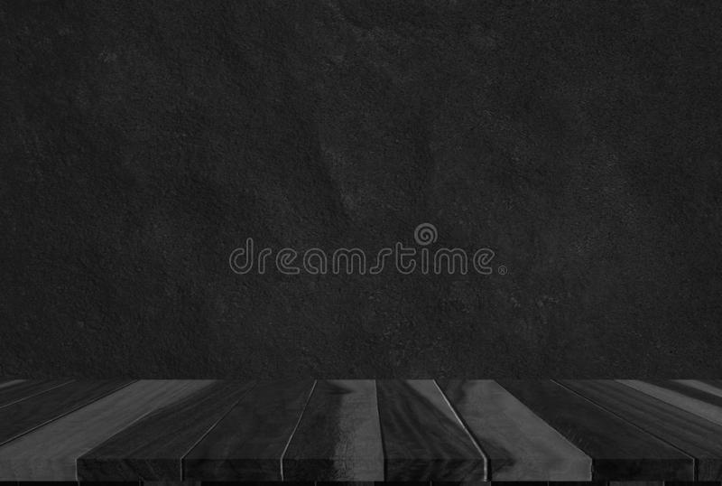 Wood black background texture, dark wooden bar table top view bl stock image