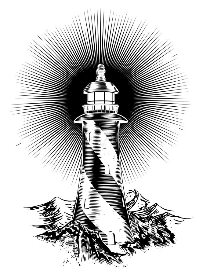 Wood Block Style Lighthouse Stock Vector