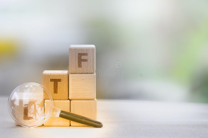 Wood block word LTF and RMF royalty free stock photography