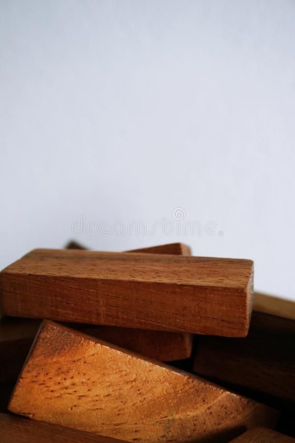 The wood blocks tower fall down, royalty free stock photos