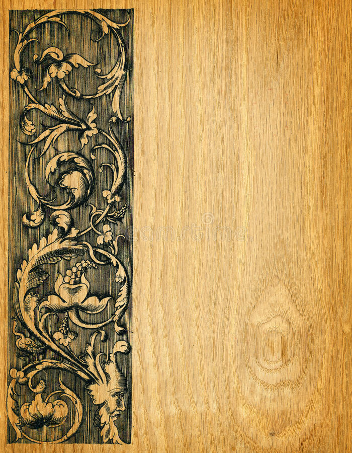 Wood board background. Renaissance engravings on red oak wood vector illustration