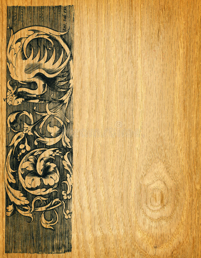 Wood board background. Renaissance engravings on red oak wood royalty free illustration