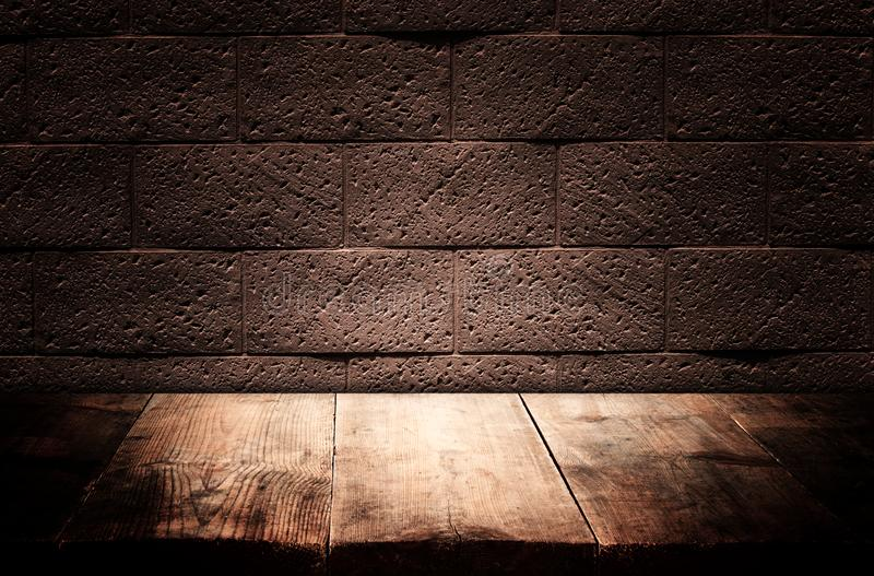 Wood boards and dark wall background. For product presentation.  stock images