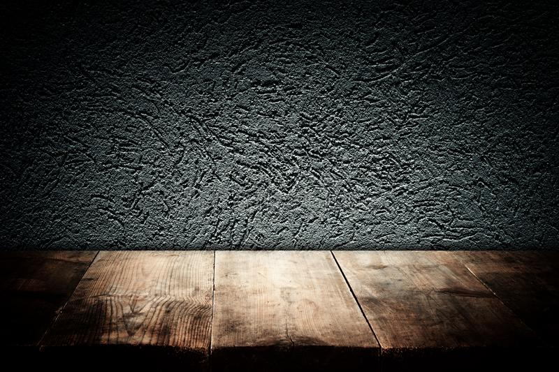 Wood boards and dark wall background. For product presentation.  stock image