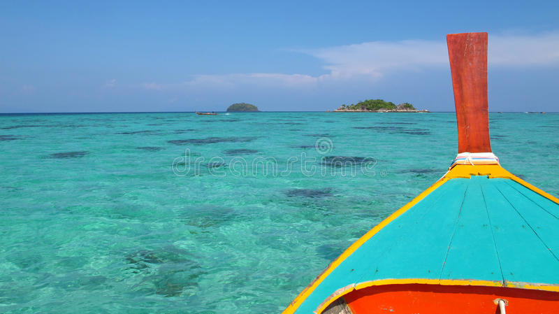 Wood boat at lipe island stock photos