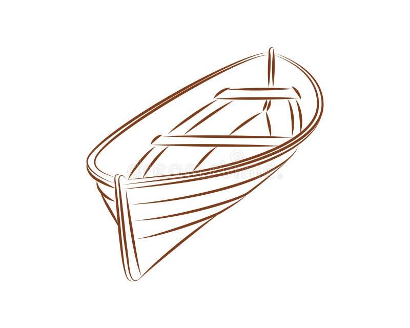Wood boat vector line royalty free illustration