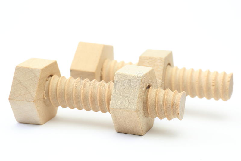 Wood Bolt And Nut Stock Images