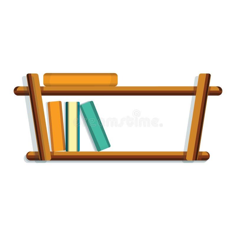 Wood book shelf icon, cartoon style royalty free illustration