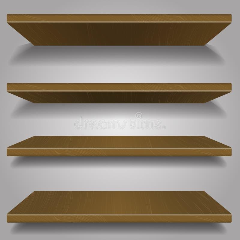 Wood bookshelf design royalty free illustration
