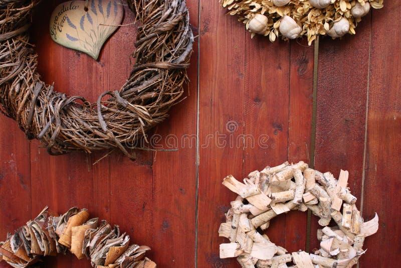 Wood bordo decoration, wreath royalty free stock photography