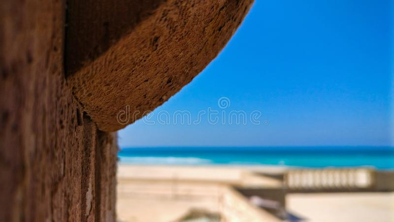 Wood Bower. Focus on Wood Bower and background sea royalty free stock images