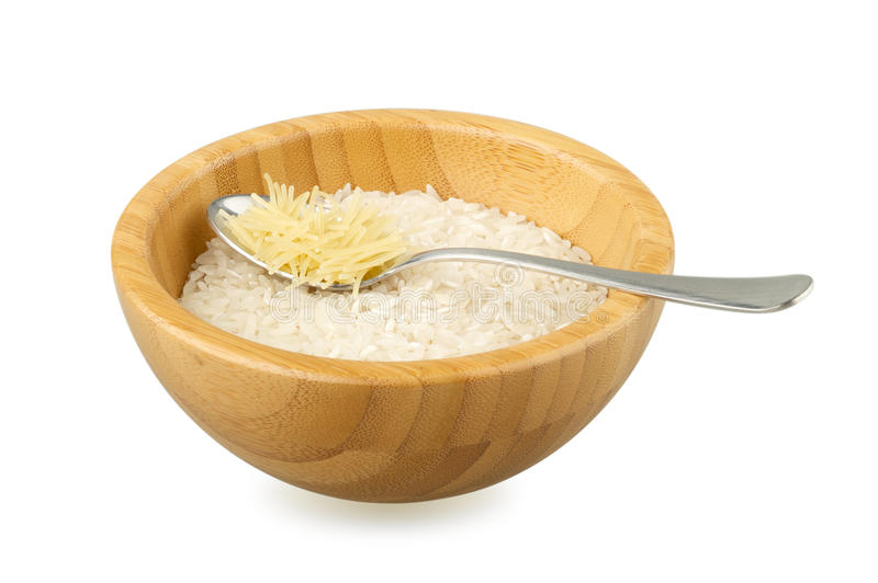 Wood Bowl With Rice And Spoon With Vermicelli Stock Photography