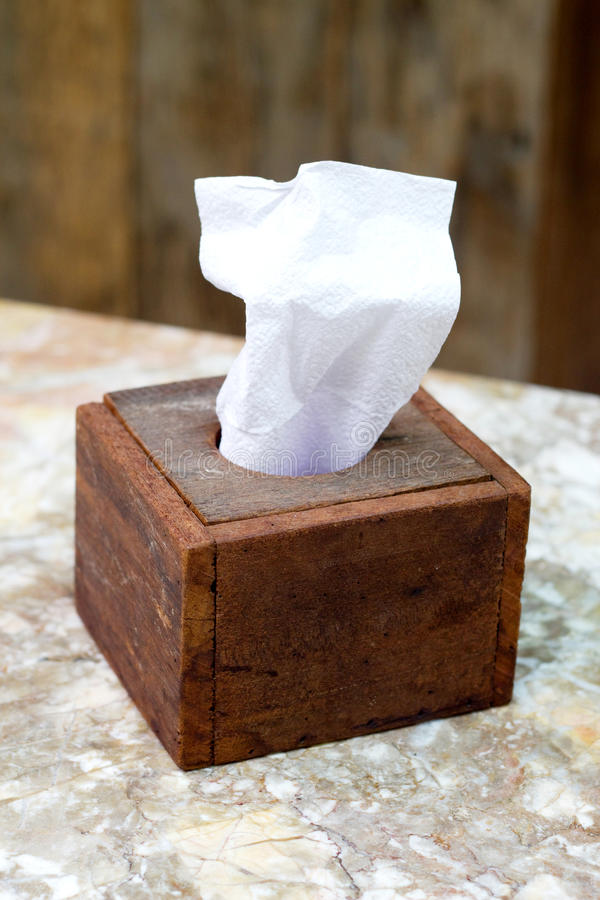 Wood box Paper Tissues stock photo