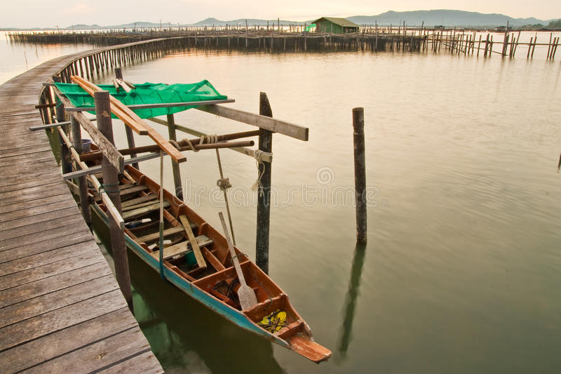Download Wood Bridge To Fisherman House  In Sea, Thailand Stock Photo - Image: 11047410