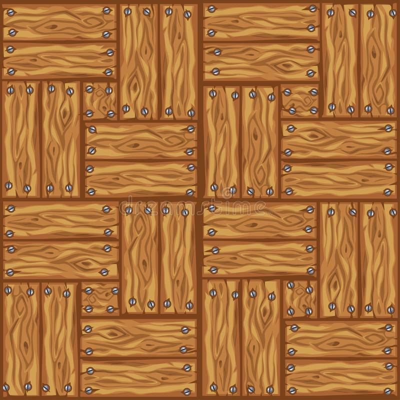 Wood brown floor tiles pattern. Seamless texture wooden parquet board. Vector illustration for user interface of the game element stock illustration
