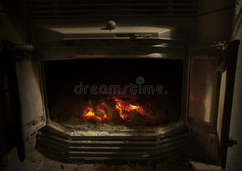 Download Wood burner with glow stock photo. Image of fire, danger - 18451964