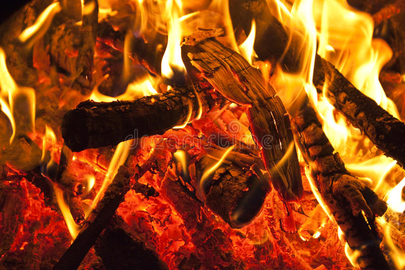 Wood Burning On Fire Stock Photography