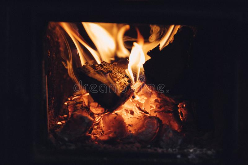 Wood burning in fireplace royalty free stock photo