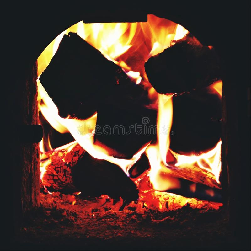 Wood burning in stove
