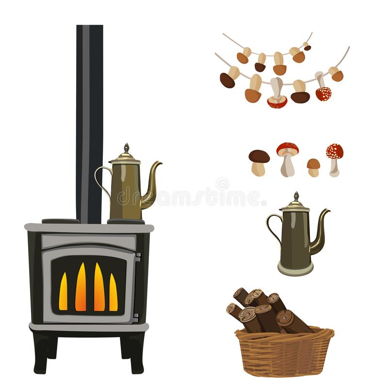 Wood burning stove with fire flame. Set of accessories. Vector illustration. stock image