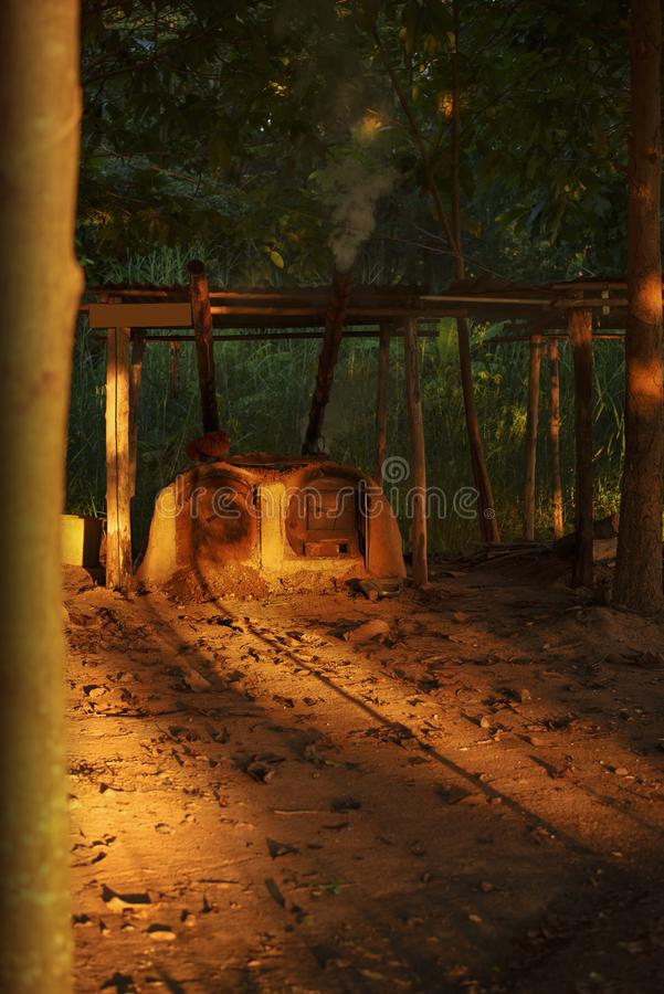 Wood burning stove,Firewood for furnace heating, stock images