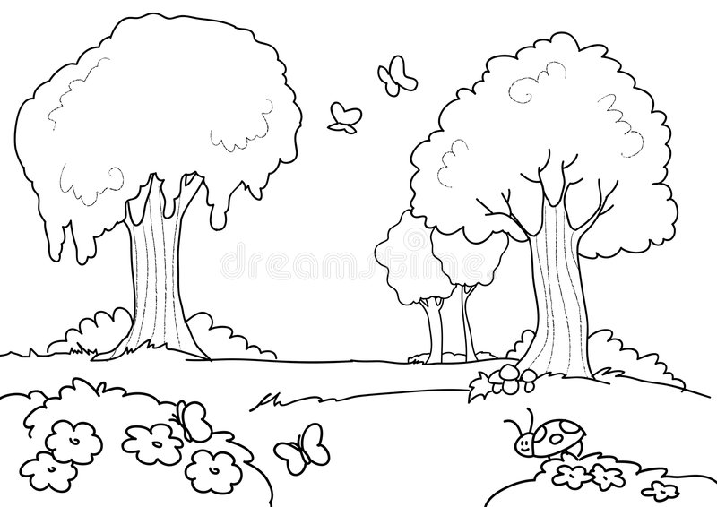 Cartoon Wood For Kids Coloring Stock Vector - Illustration ...