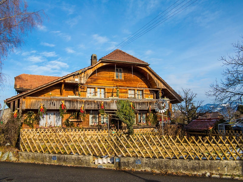 Wood cabin. Cottage or house in Switzerland stock image