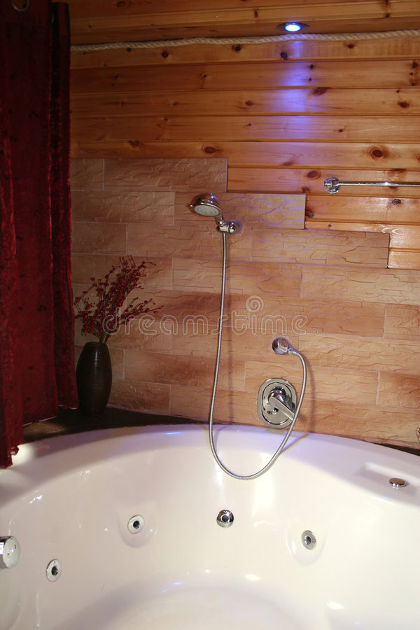 Wood Cabin Jacuzzi stock images