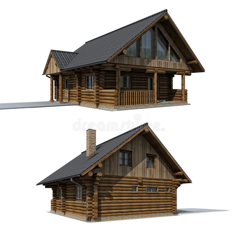 Wood cabine - cottage. Two perspectives on the timber cottage house on the white background, 3D rendering stock illustration