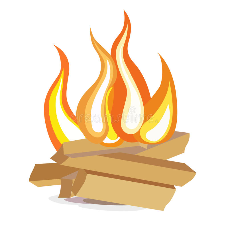 Wood Camp Fire Flat Design Icon On White Stock Vector
