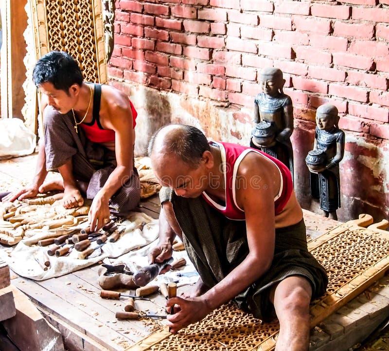 Wood carver in Mandalay, Myanmar 1 stock photo