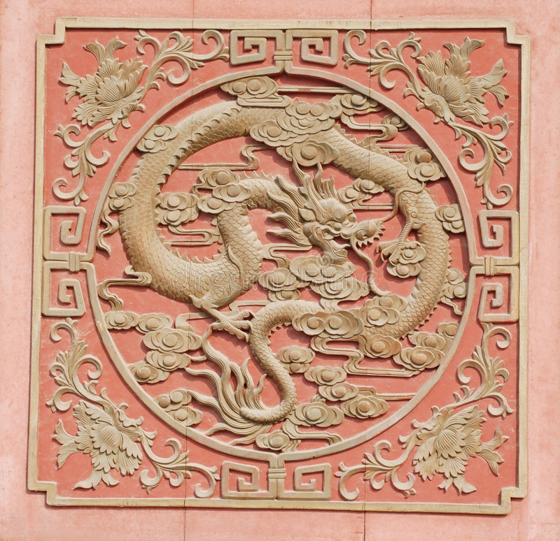 Wood carving dragon royalty free stock photography