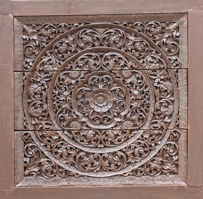 Wood Carving in Flower and Vine Plant Pattern. Close up royalty free stock photography