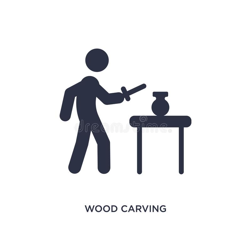 Wood carving icon on white background. Simple element illustration from activity and hobbies concept. Wood carving icon. Simple element illustration from vector illustration