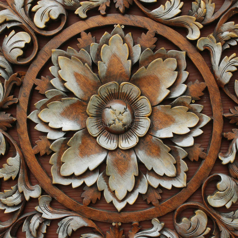Wood carving patterns stock image of background