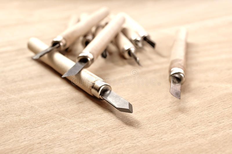 Wood carving tools. In Sepia, conceptual image royalty free stock photo
