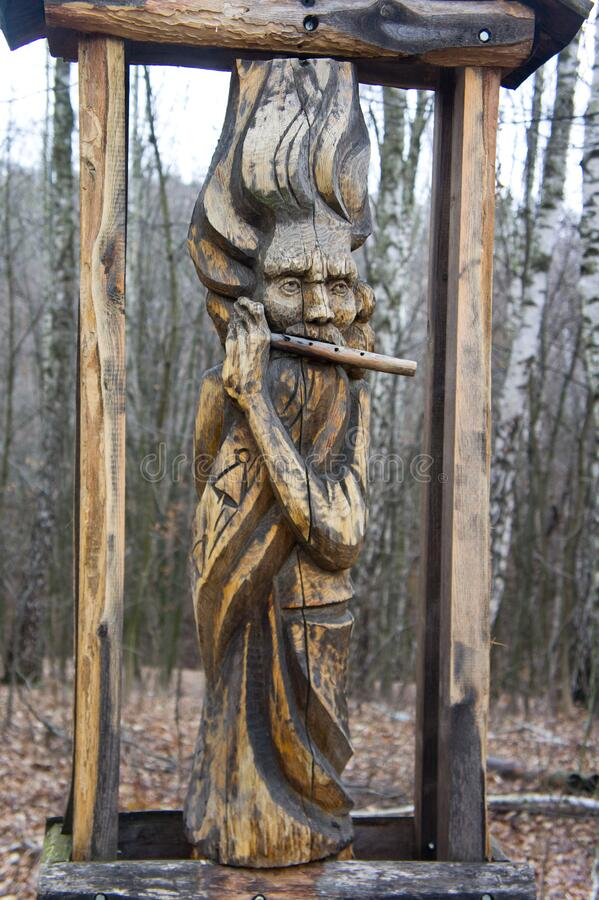 Wood carvings, wooden sculptures. Background for carving art. Craftsmanship.  royalty free stock image