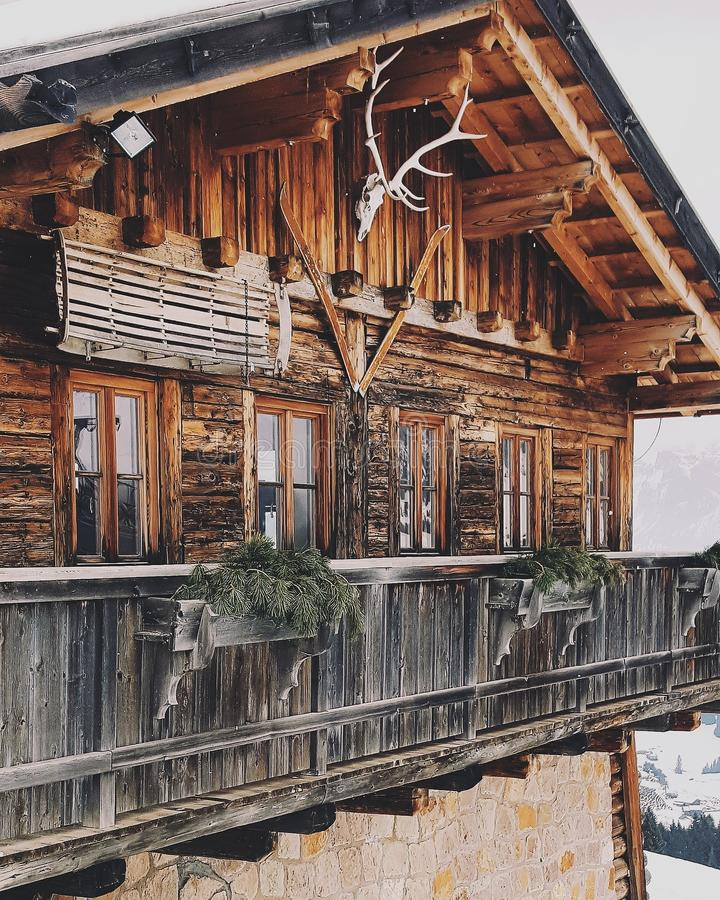 Wood Chalet Trentino. Wood chalet in the mountain in trentino, Italy royalty free stock photo
