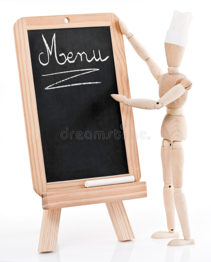 Download Wood Chef Figurine And Menu Stock Image - Image: 14855721
