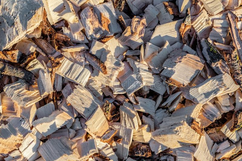 Wood chip. Recycled wood. Eco-friendly processing. royalty free stock images