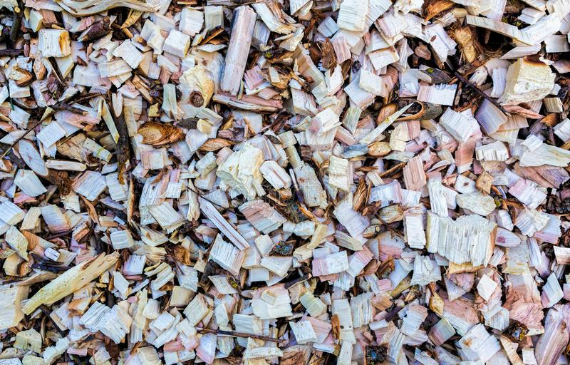 Wood chip. Recycled wood. Eco-friendly processing. royalty free stock photo