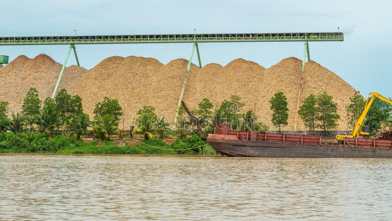 Wood chip stockpile factory on Mahakam riverbank. royalty free stock photos