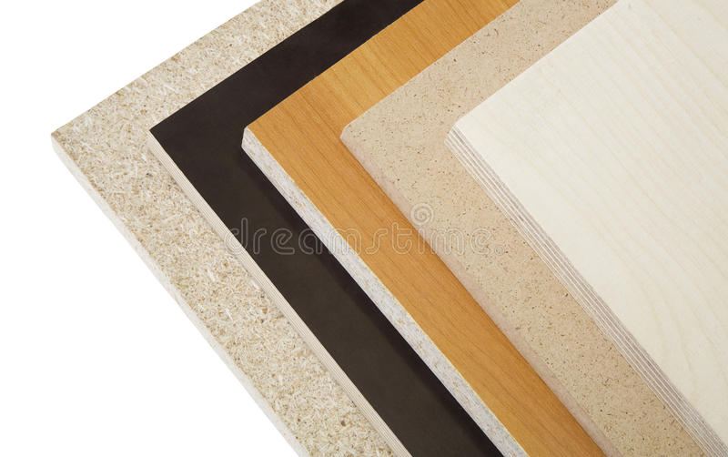 Wood chipboard and plywood. Various kinds of wood chipboard and plywood royalty free stock images