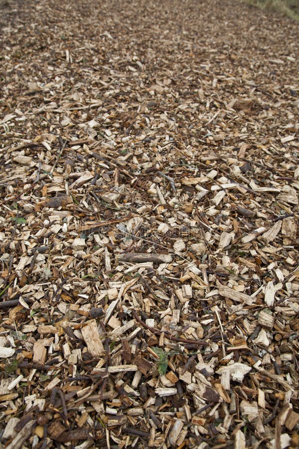 Wood chippings. Road made of wood chippings royalty free stock image