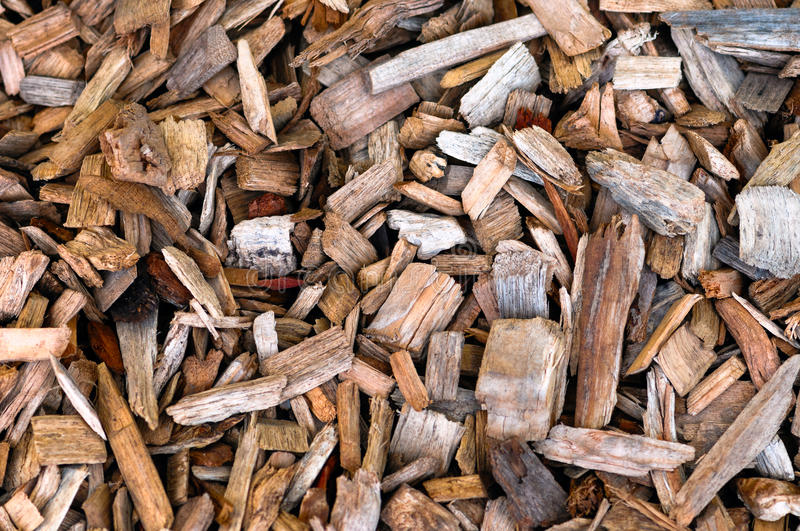 Wood chips background and texture stock images