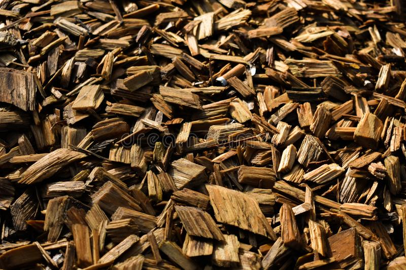 Wood Chips Flakes Chunks Pieces Brown Gold Sunshine Decoration P. A floor of wooden flakes in a playground which can be used as a cool background stock photo
