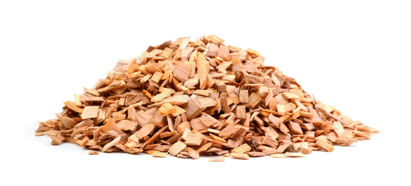 Wood chips isolated on white royalty free stock photos